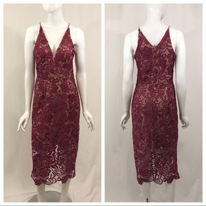 Dress the Population Mulberry Pink Lace Dress M